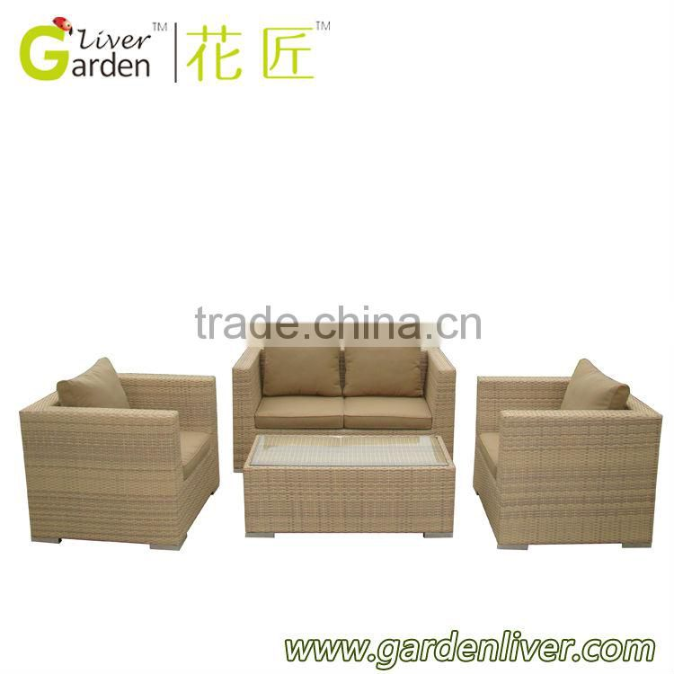 wholesale garden wicker two seater sofa set poly rattan furniture
