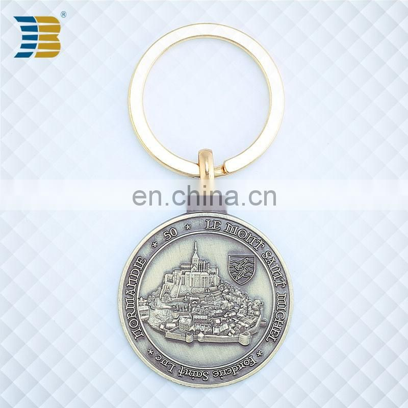 Russia custom made bronze coin keychain with engraving