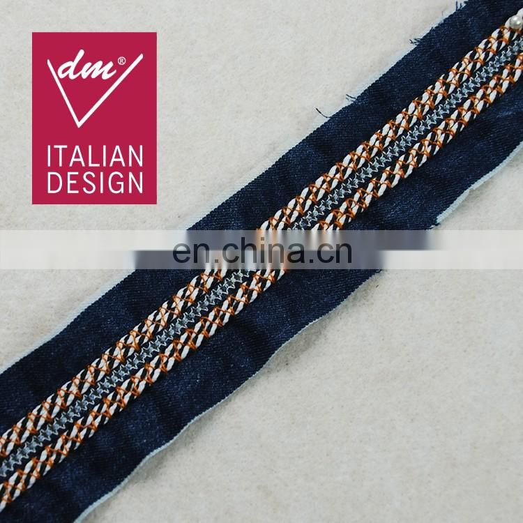 Italy design fashion denim fabric trim embroidery tape with 3d braided rope