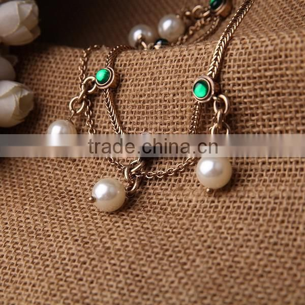 Gold Filled Double Layers Pearl Necklace With Chain