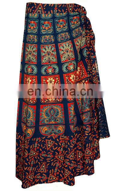 Rajasthani ethnic style beautiful print and design long cotton wrap skirts wrap skirt