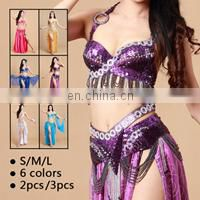 GT-1070 Taiwan hot sales costomized invisible beaded belly dance costume set