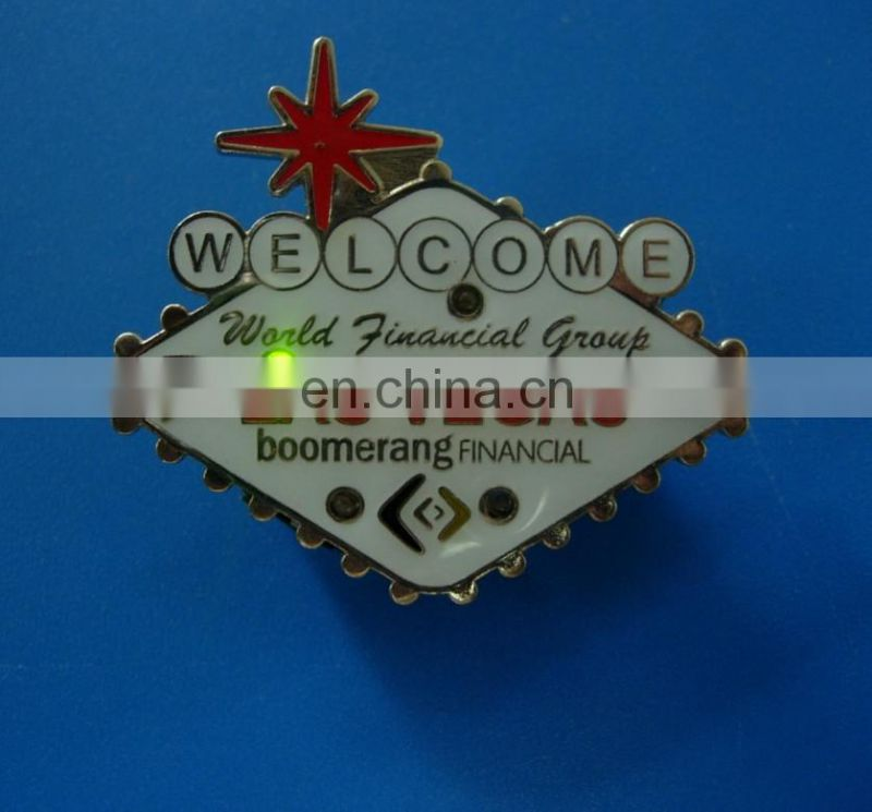 Silver plating half heart shape enameled pink and blue color embossed brand logo metal badge