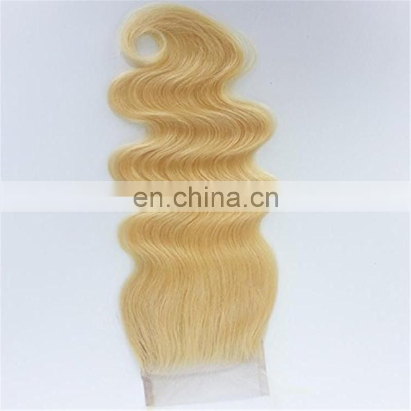 "4"" x 4"" brazilian hair lace closure 613# blonde color body wave hair closure"