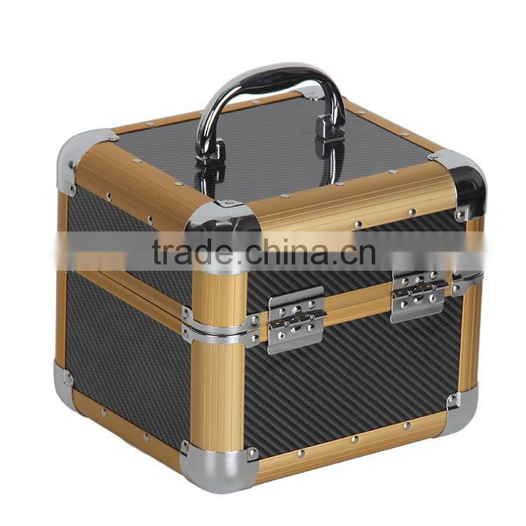 9 Inch tiny golden aluminum portable makeup artist case with 4 extendable trays for eyelash tool kits