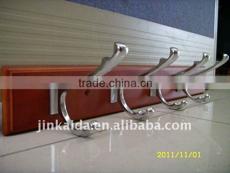 High quality wood board clothes hook,wood board with zinc hooks YG-050