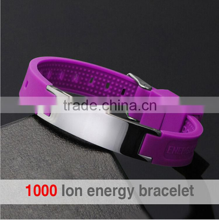 Top quality silicone product adjustable stainless steel clasp silicone power health bracelet bio magnetic energy bracelet