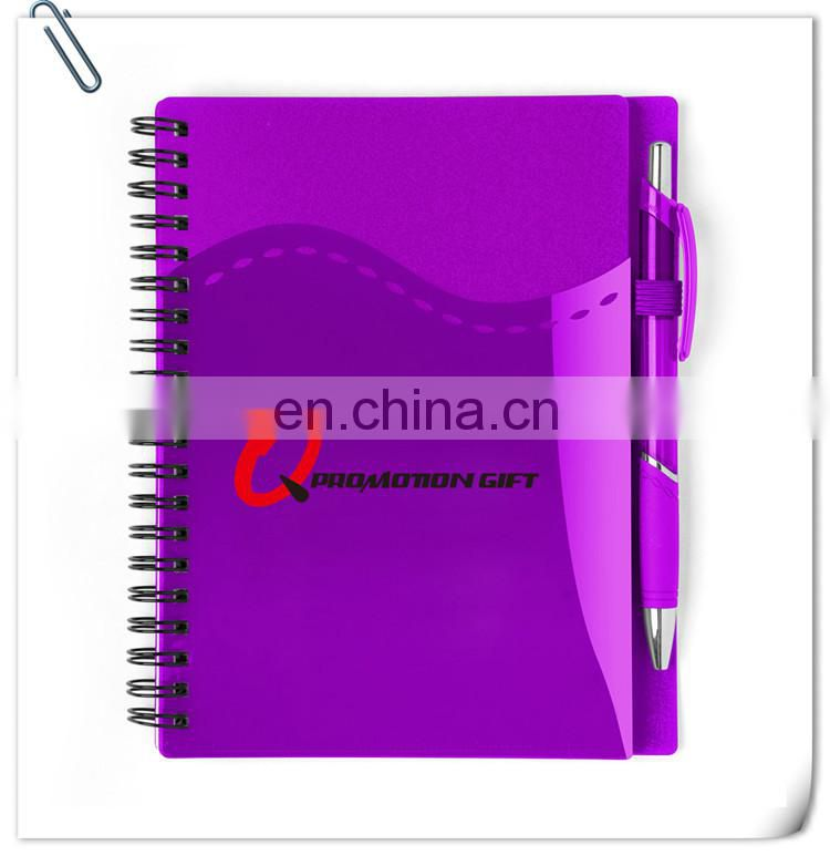 stitch spiral notebook set with pen and wraparound front pockets