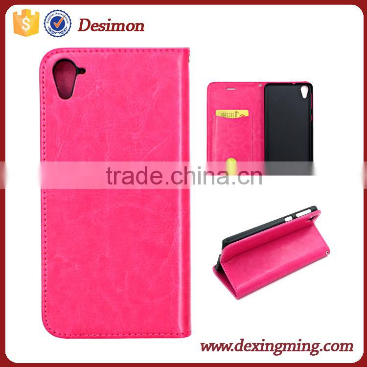 Customized OEM Magnetic Flip PU Leather Card slot cell phone Cover for HTC 826