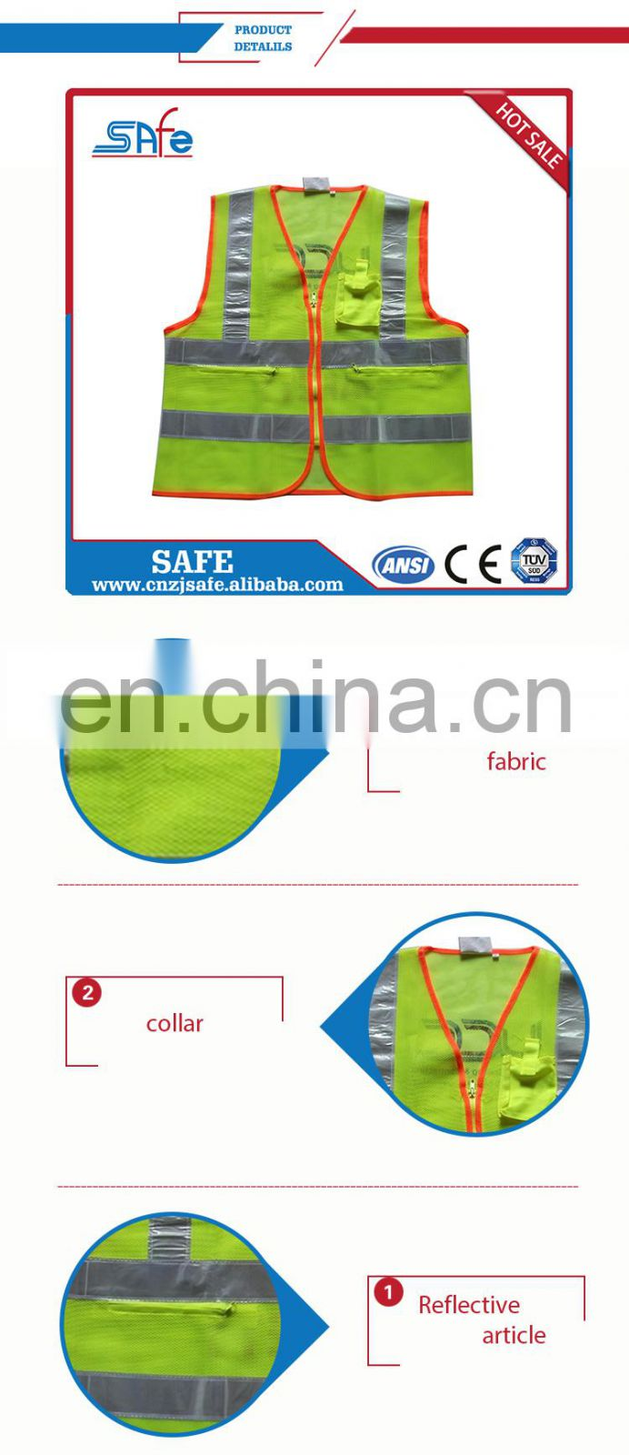 ANSI.MESH cheap safety reflective t-shirt with tape