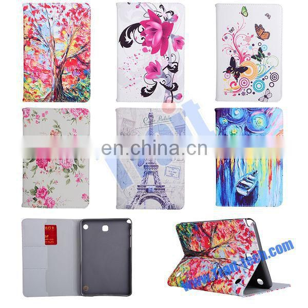 Eiffel Tower Card Slots Side Flip Stand TPU+ PU Leather Case for Samsung Galaxy Tab A 8.0 T350