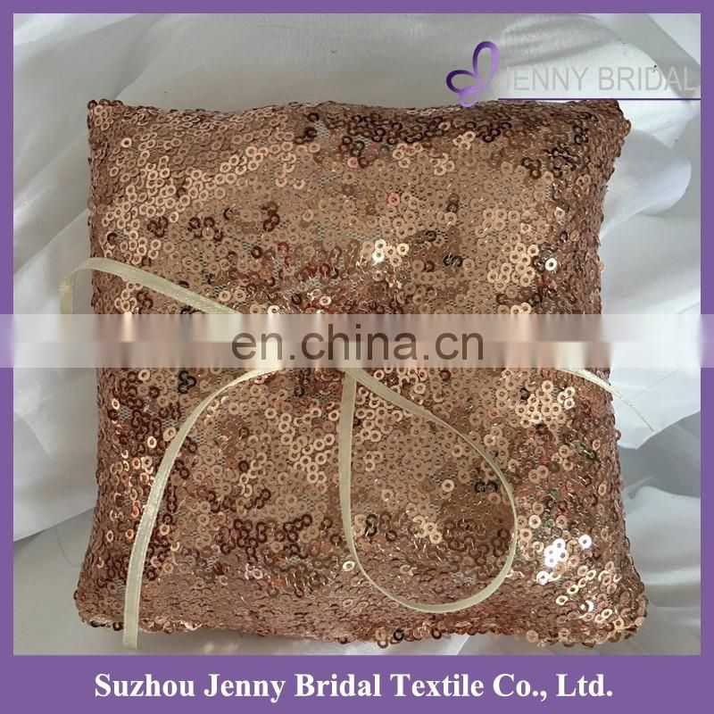 RP02 ROSE GOLD Sparkling SEQUIN FABRIC DECORATIVE Bridal Wedding Ceremony Ring Sequins Bearer Pillow with IVORY Ribbon