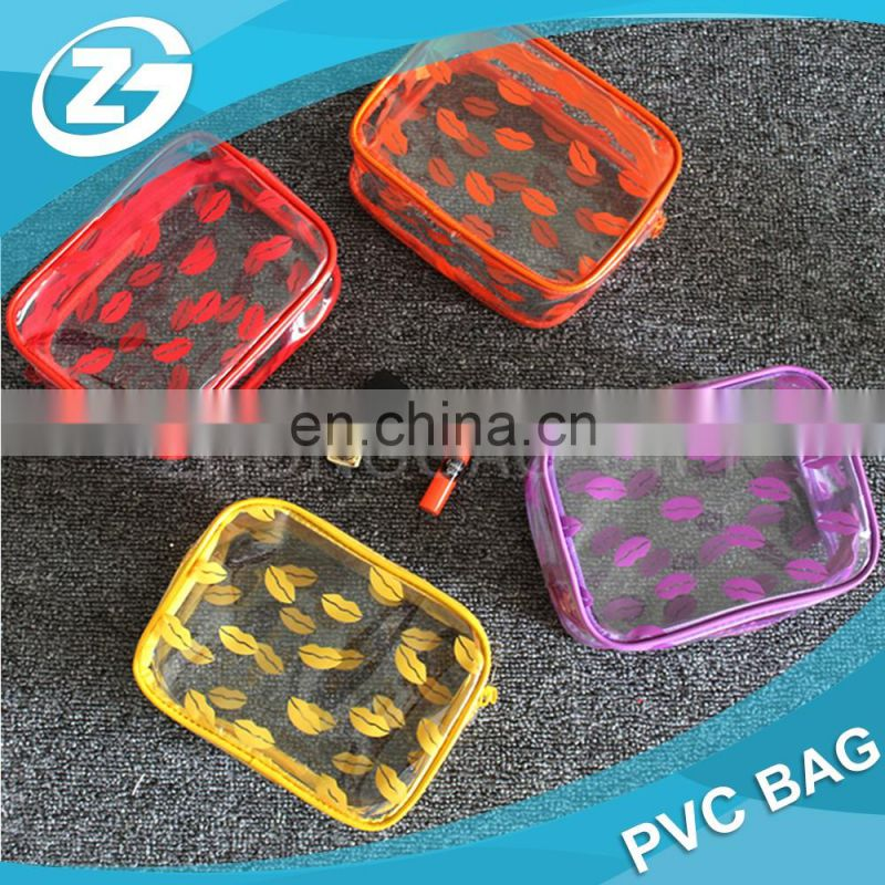 New Design Fashion Sexy Lipper Zipper Top Girls Make up Cosmetic Printed PVC Bag