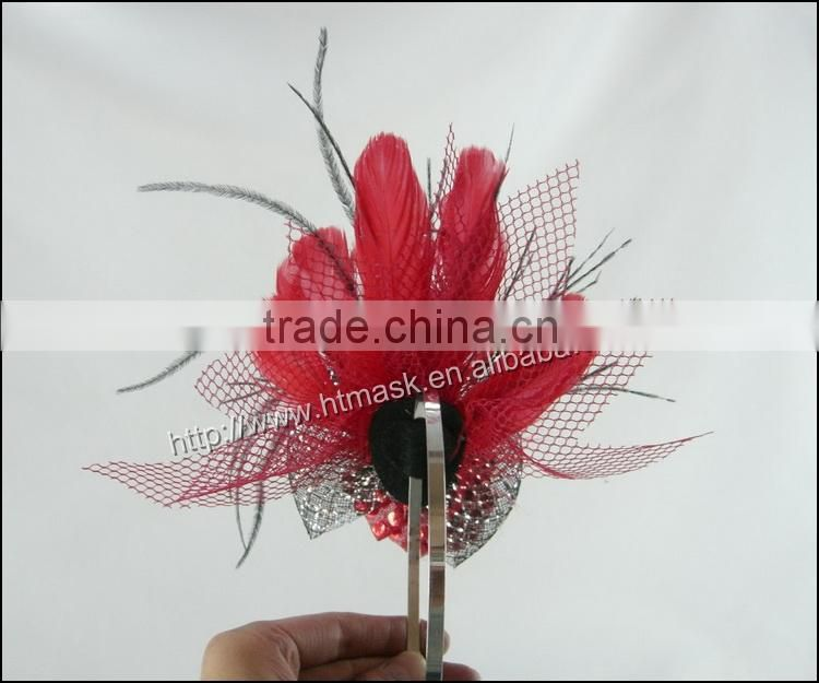 Carnival Headdress Small Colwn Face Mask Balck Ostrich And Red Chicken Feather