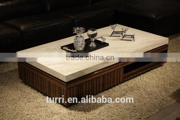 Green MDF coffee table with natural stone travertine
