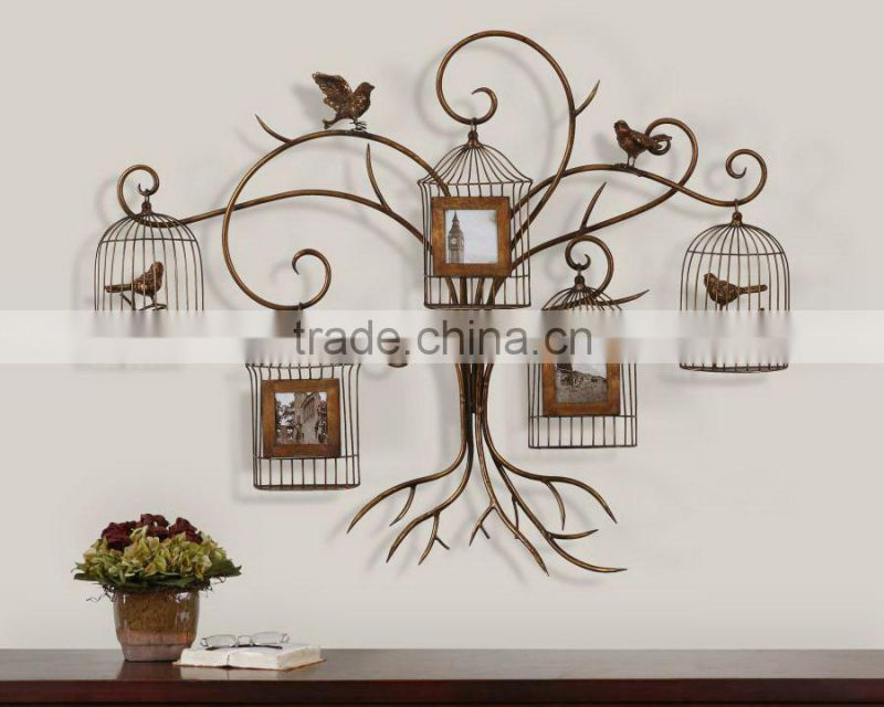 metal tree leaf photo frame for decoration