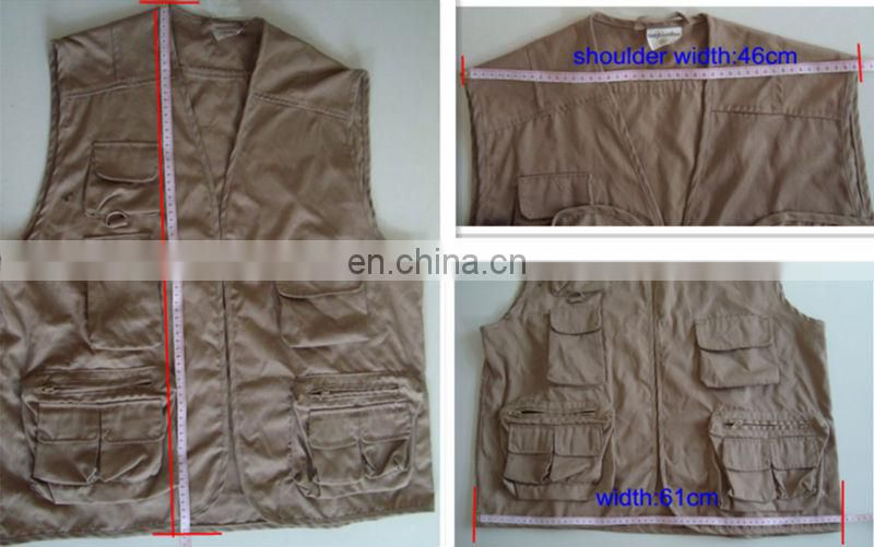 Brown sleeveless multi pocket fishing vest for adult man
