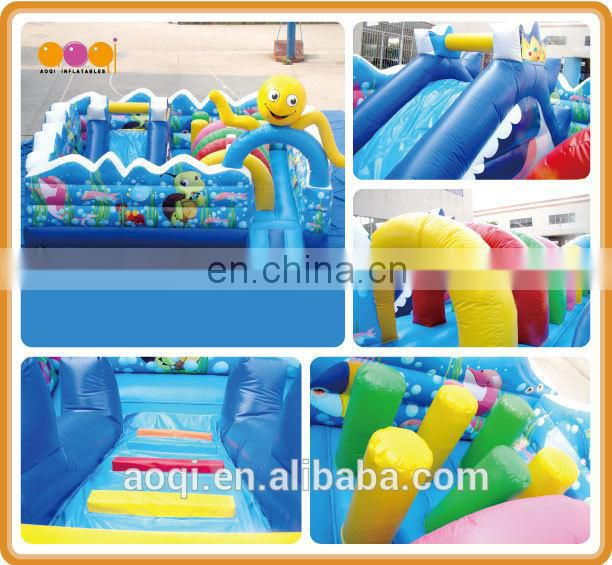 AOQI super quality inflatable fun city ocean cartoon theme inflatable kids park china with free EN14960