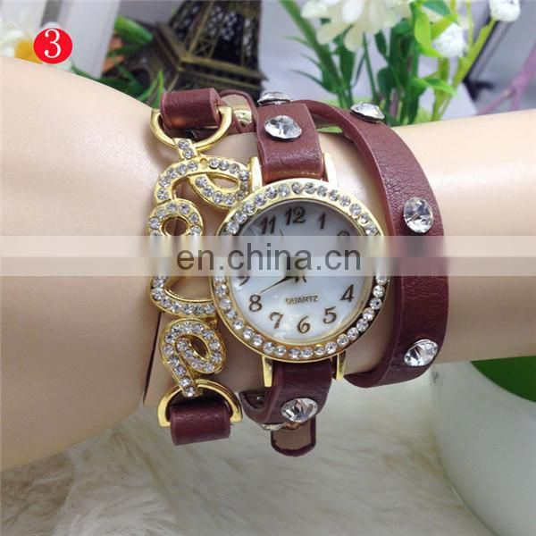 2014 Wholesale Cheap Vintage Leather Wrist Watch 3-stand bracelet watch