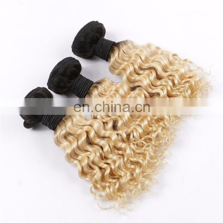 Wholesale Peruvian Hair Extension Hair With Closure Ombre Two Tone Color Short Deep Curly Lace Closure With Bundles 1BT613 Color