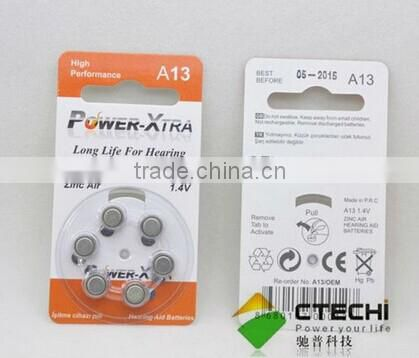 Zinc-air button cell battery A13 A10 A675 A312 in Blister card for hearing aid