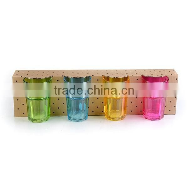12.5oz bar drinking glass colorful water cup gift set high quality octagon cup