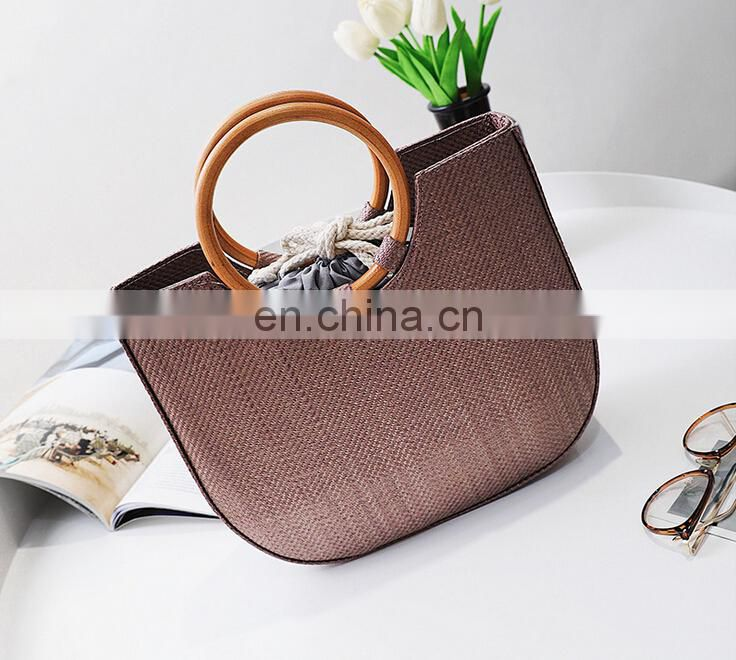 Straw bag leisure crossbody bag ring metal tote bag wholesale
