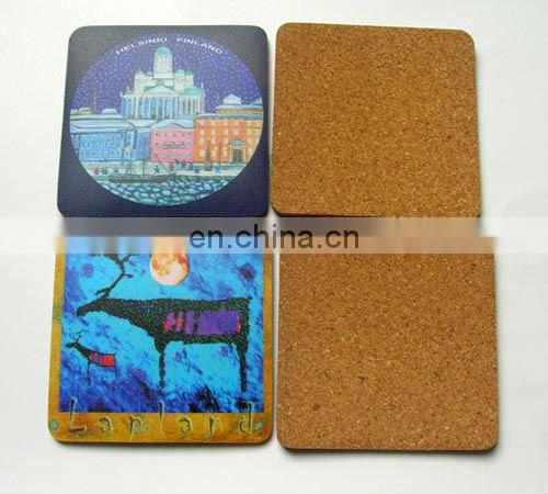 Custom design printed waterproofing black blank cork coaster