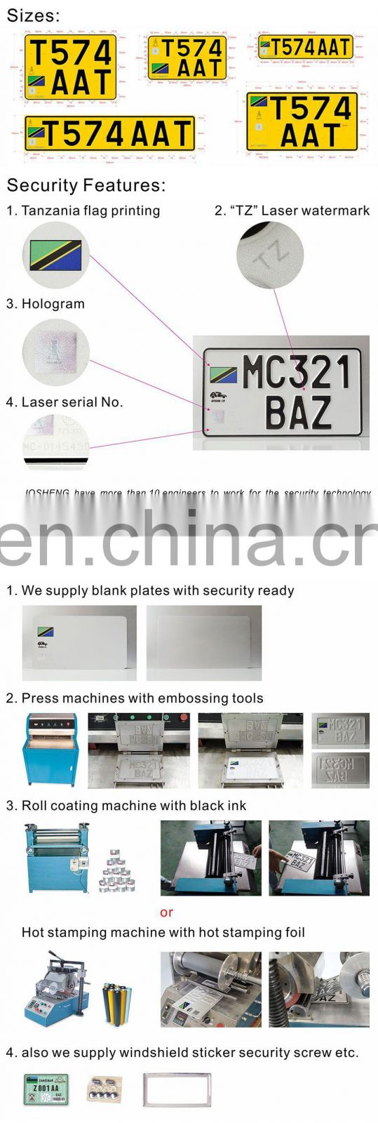 Exquisite Metal Aluminum Rectangular IND Number Plate Car License Plate