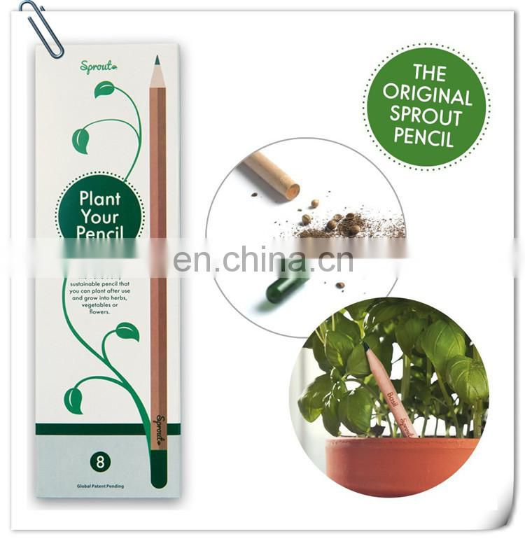 novel creative natural promotion wooden flower fruit grass sprout growing pencil with seeds