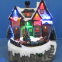 Polyresin Christmas Crafts Decoration 8'' LED train station  with moving train