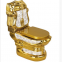 Chinese sanitary ware luxury golden washdown two piece toilet wc bowl for hotel apartment used