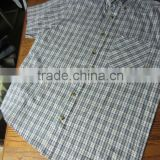 blue cotton plaid casual shirt with botton-down collar mens short sleeve workwear shirt
