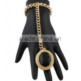 2 Pieces of Goldtone with Black Oval Stone Stretch Ring Adjustable Cuban Link Hand Chain
