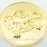 2015 newest die casting engraved coin gold plated tungsten coin