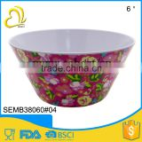 "flower printing 6"" round salad melamine bowl                                                                         Quality Choice"
