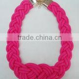 Bright colored braided rope necklace