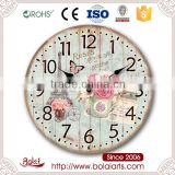 Bedroom wall hanging flower decoration shabby can printed art wall clock for coffee shop