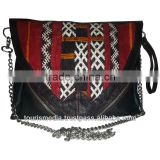 New style Moroccan kilim bags made with genuine leather and handwoven kilim rugs -