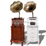 Retro AM/FM Radio usb gramophone player phonograph with Brass horn