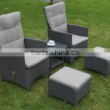 HOT SALE rattan garden furniture lounge set outdoor adjustable wicker lounge set adjustable lounge set                                                                                                         Supplier's Choice