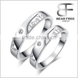 "Fashion 925 Sterling Silver "" Love You"" Couples Promise Ring Mens Womens Engagement Wedding Bands                                                                         Quality Choice"