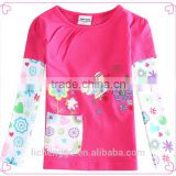 (F5968) 2016 Nova baby clothes wholesale baby girls spring autumn clothing fuchsia shirts with Floral and butterfly embroidery