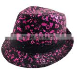 Hot sale top quality best price 100% polyester funky sequin baby straw hat , funny bucket sun hat