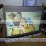 Adhesive back projection screen film ,high contrast grey color,for shop