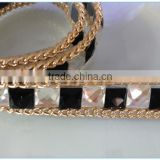 Top quality vintage style square glass iron rhinestones trimmig mesh sheet