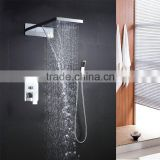 wholesale bath showers 22 inch square rain shower faucet embed wall mounted rain and waterfall dual shower head with hose