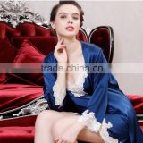 Blue Lace Silk Sleepwear bathrobe Gown Sets