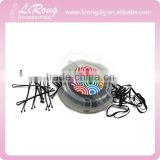 Clear Plastic Box with Black Bobby Pins and Rubber Bands
