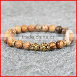 KJL-0106 Silver Or Gold Plated Mens Skull Bracelet, 8MM Nature Picture Jasper Gem Stone Beads Bracelet ,Party Gift
